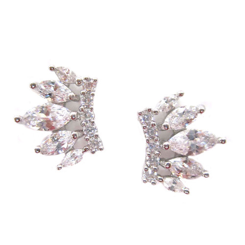 Sterling and C.Z. Fancy Graduated Stud Earring