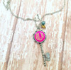 Pink Key Necklace with Monogram Example