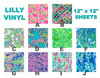 "Lilly Pattern Vinyl 12""x12"" Sheet Choices"