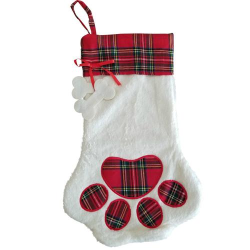 Red Plaid Dog Paw Christmas Stocking