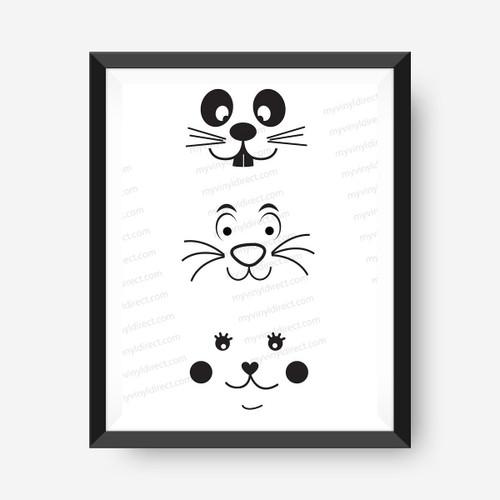 Bunny Face Digital File - 3 Designs