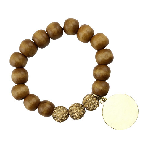 Wood Bead & Disc Bracelet