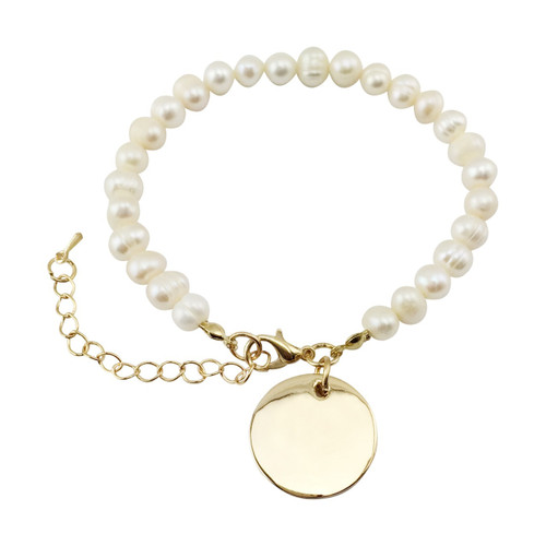 Freshwater Pearl Bracelet with Gold Disc