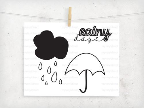 Rainy Day Vector Set Digital File