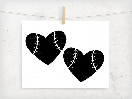 Baseball Heart Digital Cutting File