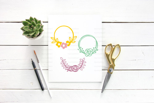 Three Hand Drawn Floral Wreaths Digital Cutting File