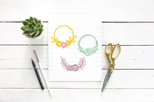 Three Hand Drawn Floral Wreaths Digital Cutting File