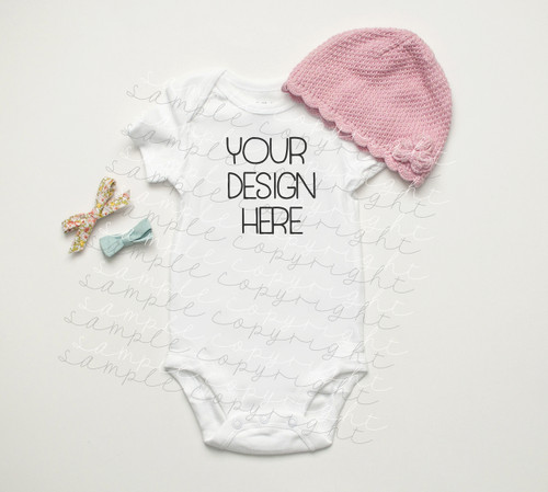 White Baby Onesie Mock-Up #3