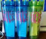 Skinny Tumbler personalized with monograms by using our Gloss 651 vinyl