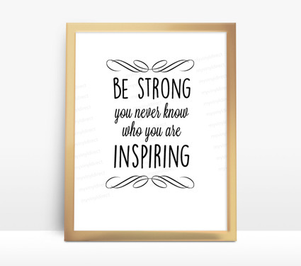 Motivational Water Bottle Digital File Be Strong My