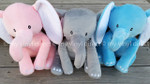 Elephants available in Pink, Grey, & Blue