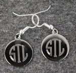 Simple Disc Silver Earrings shown with etched monogram.