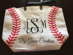 Baseball Tote personalized with our Heat Transfer Vinyl