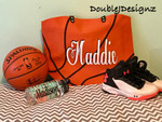 Basketball Tote personalized with our heat transfer vinyl.