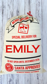 Santa Sack: Shown personalized with childs name.