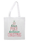 Christmas Word Tree Digital File applied to a tote bag with heat transfer vinyl.