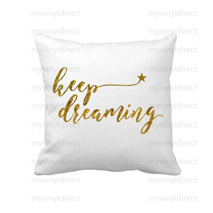 Dream Digital File Pack shown placed on a pillow in heat transfer vinyl.