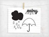 Rainy Day Vector Set Digital File