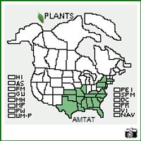 Amsonia tabernaemontana USA Native Range Map
