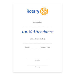 Rotary 100% Attendance Certificate