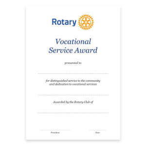 Rotary Vocational Service Certificate