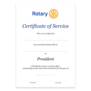 Rotary Past President Certificate