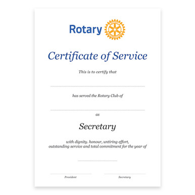 Rotary Past Secretary Certificate - Rotary Down Under Supplies