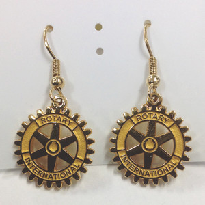 Gold plated Rotary Charm Earrings