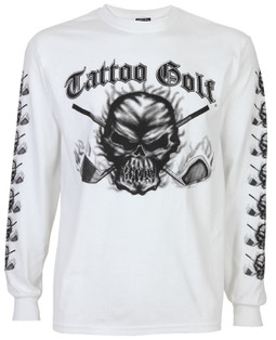 Long Sleeve Skull Golf T-Shirt (White)