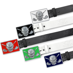 Skull & Crossed clubs design embossed on a leather belt strap with your choice of FIVE high-gloss belt buckles.   Mix & Match  to get the perfect accessory for any golf outfit.