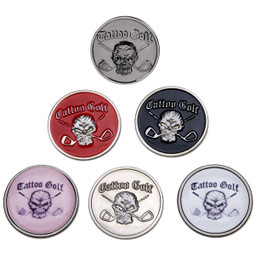 These golf ball markers are available in 5 colors and feature all metal construction. The Skull logo will intimidate your opponent more than marking your ball with a dime!!