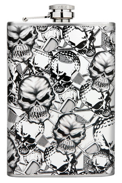 The Skulls flask is slim enough to fit in your hip pocket, purse or golf bag.  The perfect bridesmaids gift, groomsmen gift, birthday, anniversary, or just because gift!