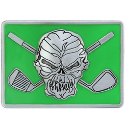 "Skull and crossing clubs belt buckle.  Size 3-1/8"" wide x 2-1/4"" high and designed to fit belts up to 1 1/2 in width, Will fit on any belt with snaps.  The perfect accessory to our Lucky 13 Performance Polo shirt!"