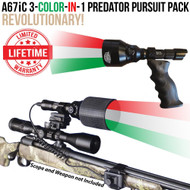 Wicked Lights A67iC 3-Color-In-1 Predator Pursuit Pack for Night Hunting Coyotes, Hogs, Foxes