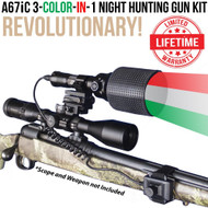 WICKED LIGHTS A67IC 3-COLOR-IN-1 NIGHT HUNTING GUN LIGHT KIT FOR COYOTES, FOXES, BOBCATS, AND HOGS