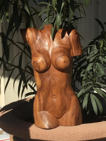 "20"" hand carved solid wood womens torso"