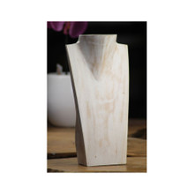 """12"""" tall solid wood necklace display, whitewash finish"""