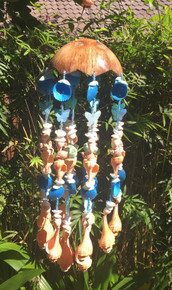 Blue seashell mobile with coconut