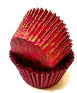 Gold and Red Floral Patterned Patty Pans  (20 Pcs.)