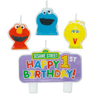Sesame Street Happy birthday Molded Cake Candle Set (4 Pcs.)
