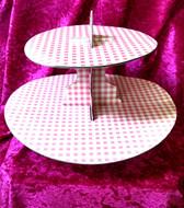 Blackwood Lane - Pink Checkered 2-Tier Cupcake / Cake Stand