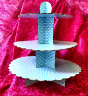 Blackwood Lane - Blue Checkered 3-Tier Cupcake / Cake Stand