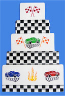 Designer Stencils - Checkerboard Cake Stencil Side (10.16 cm x 30.48 cm)