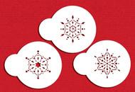 Designer Stencils - Mini Jeweled Snowflakes Cupcake Stencil (5 cm)
