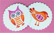 Designer Stencils -  Retro Owl and Bird Cookie Stencil (7.62 cm)