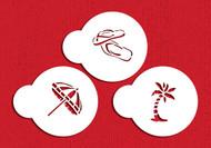 Designer Stencils - Mini Beach Cupcake Stencil Set (5 cm)