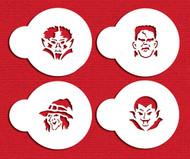 Designer Stencils - Mini Monster Faces Cupcake Stencil (5 cm)