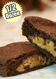 Fudge Brownie Cookie STUFT with Peanut Butter and Pretzels – Half (1/2) Dozen