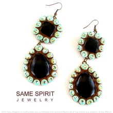 EARRINGS - SUGARITE LONG (blinged) BLACK with MUTED TURQUOISE