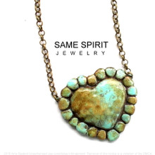NECKLACE - SUNSET TURQUOISE HEART (CHOKER)